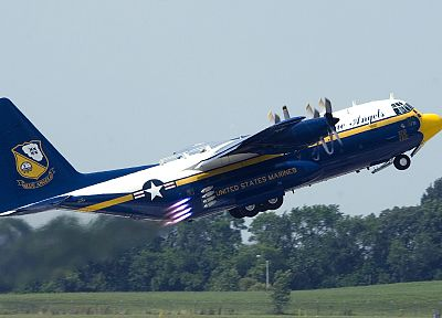 aircraft, USMC, take off, C-130 Hercules, blue angels - related desktop wallpaper
