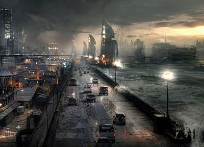 ruins, cityscapes, rain, waves, cars, roads, science fiction, flood, apocalyptic - related desktop wallpaper