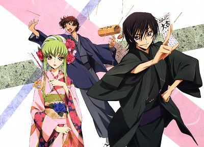 Code Geass, Kururugi Suzaku, Lamperouge Lelouch, C.C., Japanese clothes - related desktop wallpaper
