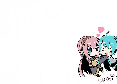 Vocaloid, Hatsune Miku, Megurine Luka, chibi, simple background, detached sleeves - random desktop wallpaper