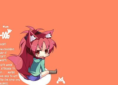 tails, redheads, chibi, animal ears, cat ears, Mahou Shoujo Madoka Magica, Sakura Kyouko, anime, anime girls - related desktop wallpaper