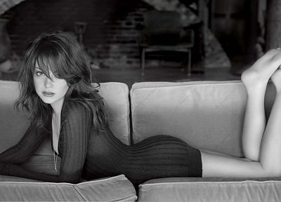 women, Emma Stone, monochrome, greyscale - desktop wallpaper