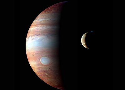 outer space, Moon, Jupiter - desktop wallpaper