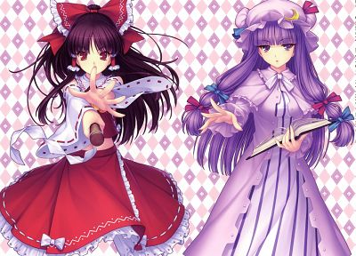 Touhou, Hakurei Reimu, Patchouli Knowledge, Sayori Neko Works, anime girls, detached sleeves - random desktop wallpaper