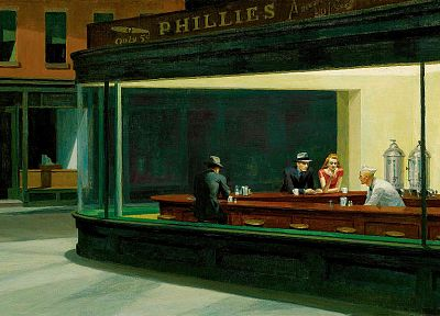 paintings, Edward Hopper, artwork, Nighthawks At The Diner - desktop wallpaper