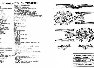 Star Trek, sheet, sovereign, spaceships, vehicles, Star Trek schematics - random desktop wallpaper