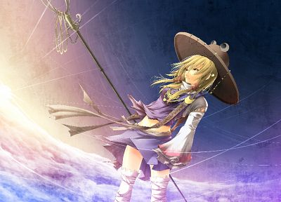 blondes, clouds, Touhou, skirts, weapons, Goddess, thigh highs, yellow eyes, Moriya Suwako, navel, jewelry, torn clothing, staff, skyscapes, hats, anime girls, detached sleeves - related desktop wallpaper