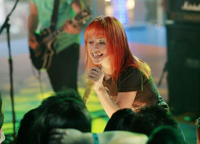 Hayley Williams, Paramore, women, redheads, celebrity, singers, music bands, band, microphones - random desktop wallpaper