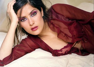 brunettes, women, Salma Hayek - related desktop wallpaper