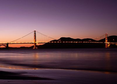sunset, bridges, Golden Gate Bridge, San Francisco, sea, beaches - related desktop wallpaper