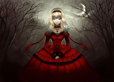 dress, night, Alice in Wonderland, Moon, Alice, Gia (artist), anime girls - desktop wallpaper