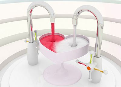 abstract, CGI, hearts, K3 Studio, faucets - related desktop wallpaper
