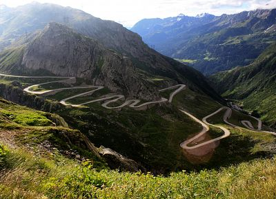 mountains, roads, Gotthard Pass - duplicate desktop wallpaper