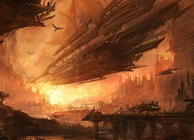 futuristic, spaceships, science fiction, artwork, Alex Ruiz - desktop wallpaper