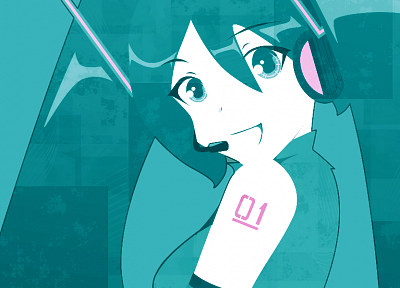 headphones, Vocaloid, Hatsune Miku - desktop wallpaper