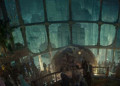 video games, cityscapes, architecture, Rapture, buildings, party, BioShock 2, artwork, globe - desktop wallpaper