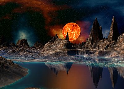 mountains, Sun, outer space, rivers - related desktop wallpaper