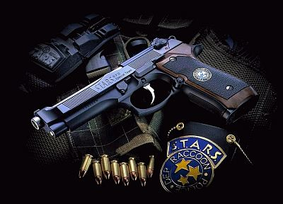 guns, stars, Resident Evil, weapons, beretta, ammunition, Samurai Edge - random desktop wallpaper