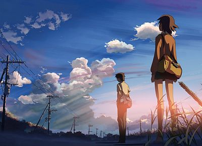 boy, women, clouds, skylines, Makoto Shinkai, 5 Centimeters Per Second, lovers, anime, skyscapes - related desktop wallpaper