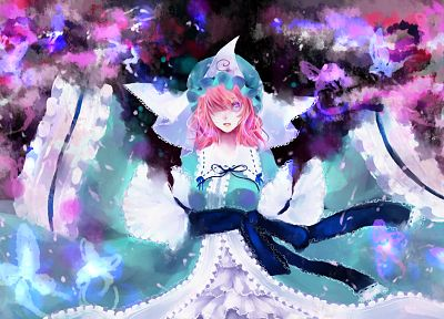 video games, Touhou, cherry blossoms, dress, pink hair, short hair, pink eyes, flower petals, Saigyouji Yuyuko, blue dress, hats, Japanese clothes, anime girls, spread arms, games, butterflies, wide sleeves - related desktop wallpaper