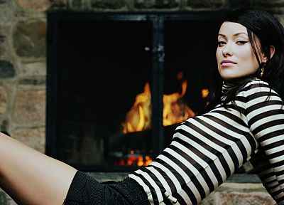 brunettes, women, Olivia Wilde, striped clothing, fireplaces - random desktop wallpaper