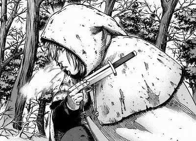 forests, knives, manga, hooded, Vinland Saga - desktop wallpaper
