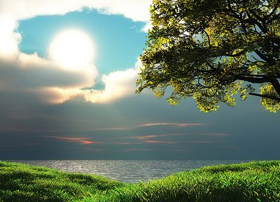 green, ocean, landscapes, nature, Sun, trees, grass, HDR photography, skyscapes, sea - related desktop wallpaper