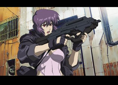 guns, Motoko Kusanagi, purple hair, Ghost in the Shell - random desktop wallpaper