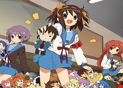 school uniforms, The Melancholy of Haruhi Suzumiya, sailor uniforms - random desktop wallpaper