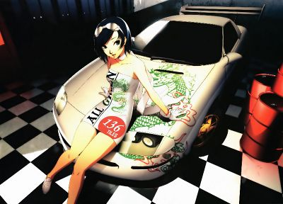 women, dragons, gloves, dress, indoors, cars, blue eyes, goggles, short hair, checkered, sitting, open mouth, scarfs, choker, white gloves, white cars, anime girls, Momoiro Taisen Pairon, Race Queens, sundress, black hair, scans, barrels, Soejima Shigenor - related desktop wallpaper