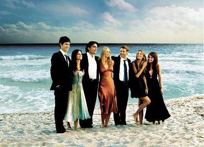 Rachel Bilson, Mischa Barton, Melinda Clarke, black dress, The O.C., Peter Gallagher, Ben McKenzie, Adam Brody, beaches - desktop wallpaper