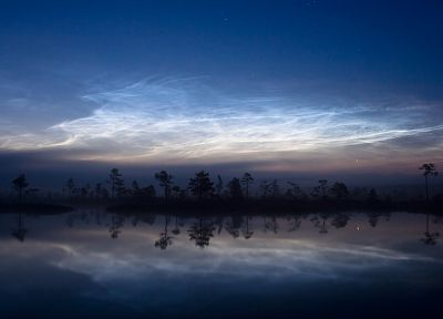 landscapes, nature, trees, stuades, lakes, dusk, skyscapes, reflections, Noctilucent cloud - related desktop wallpaper