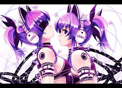 headphones, purple hair, animal ears, anime, Misaki Kurehito - desktop wallpaper