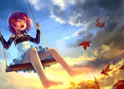clouds, leaves, skirts, outdoors, pink hair, lolicon, anime, anime girls, Babycat (Artist), original characters - related desktop wallpaper