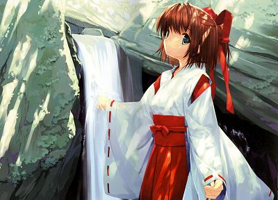 ribbons, Miko, shrine maiden outfit, Japanese clothes, anime girls, detached sleeves - desktop wallpaper