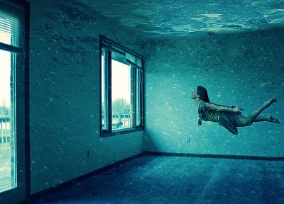 women, abstract, room, underwater, photo manipulation - desktop wallpaper