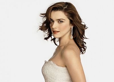 brunettes, women, Rachel Weisz, white background - desktop wallpaper