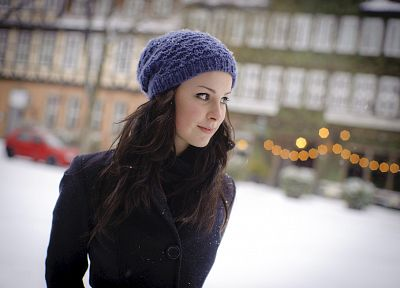 brunettes, women, snow, Lena Meyer-Landrut - related desktop wallpaper
