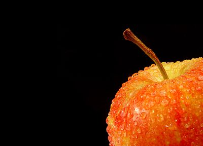 fruits, food, water drops, apples, black background - related desktop wallpaper