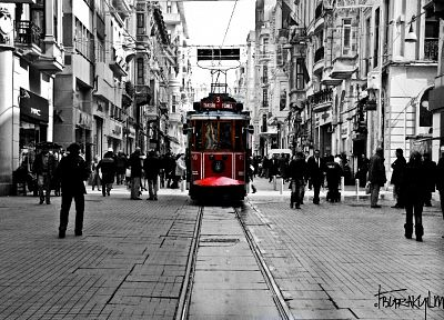 cityscapes, monochrome, Turkish, Istanbul, selective coloring, taksim, Istiklal street - desktop wallpaper