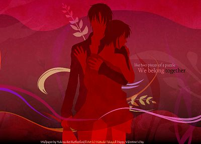 text, leaves, couple, embrace, Fruits Basket, vector art - related desktop wallpaper