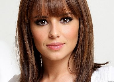 brunettes, women, long hair, Cheryl Cole, faces, bangs - related desktop wallpaper