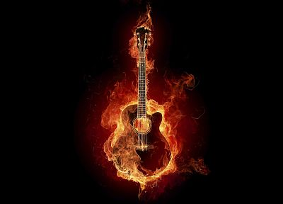 fire, guitars - random desktop wallpaper