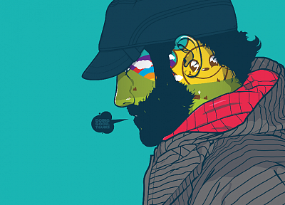 smiley face, beard, artwork, JThree Concepts, blue background, striped clothing, caps, Jared Nickerson - desktop wallpaper
