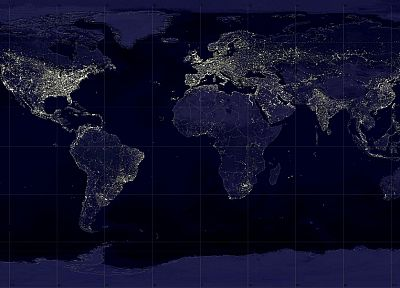 night, world map - random desktop wallpaper