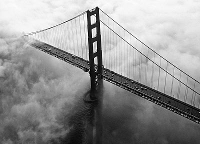cityscapes, Golden Gate Bridge, California, San Francisco, monochrome - desktop wallpaper