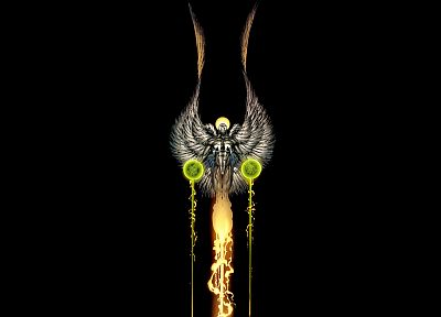 wings, Spawn, comics, artwork, drawings, black background - related desktop wallpaper