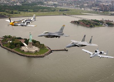 aircraft, military, New York City, Statue of Liberty, planes, vehicles, F-15 Eagle, A-10 Thunderbolt II, F-16 Fighting Falcon, P-51 Mustang - desktop wallpaper