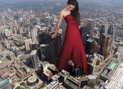 cityscapes, buildings, skyscrapers, giant woman, red dress, headbands, photo manipulation - random desktop wallpaper