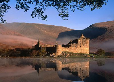 landscapes, castles, Scotland, Kilchurn castle, reflections - random desktop wallpaper